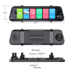 Ai-Z55 Touch Screen 4G Dual Lens Dash Cam Rearview Mirror & GPS Navigator
