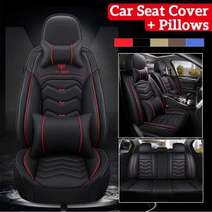 Universal Premium Leather Car Seat Cover with Headrest & Waist Pillows