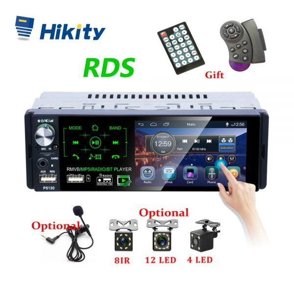 """HIKITY P5130 RDS Car Stereo with 4.1"""" Touch Screen, Microphone & Camera Support"""