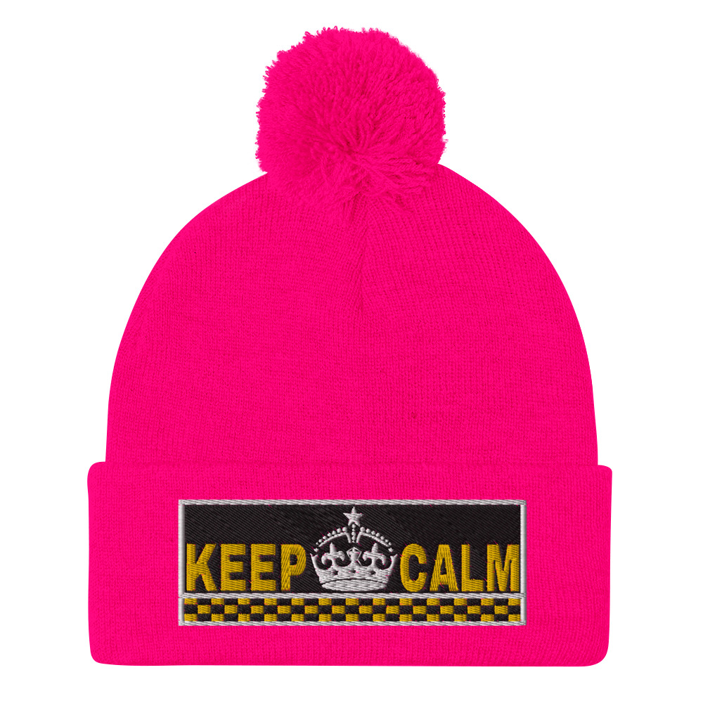 """KEEP CALM"" Embroidered Pom-Pom Beanie"