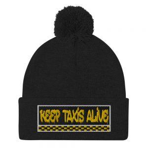 """""""KEEP TAXIS ALIVE – v3"""" Embroidered Pom-Pom Beanie"""