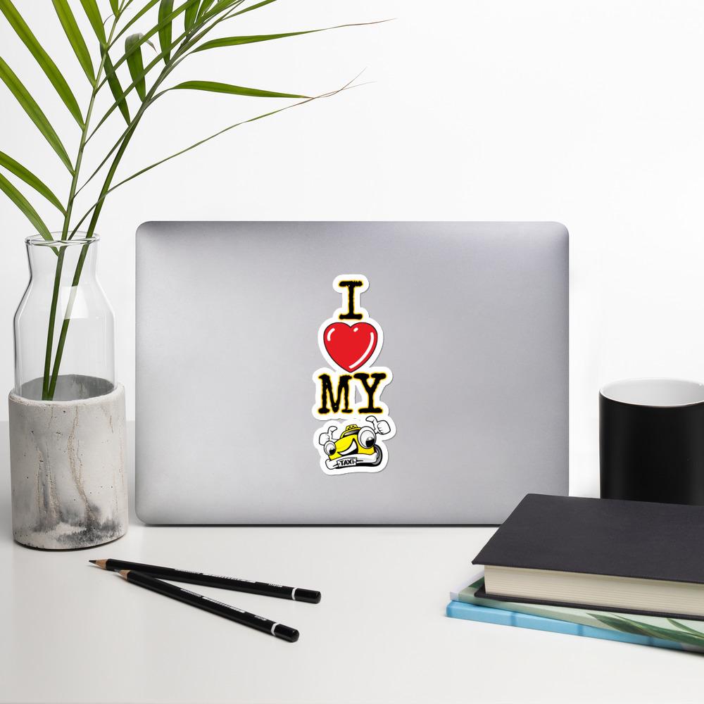 """""""I LOVE MY TAXI"""" Premium Kiss Cut Emblem Stickers"""