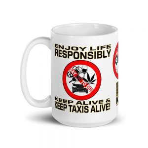 """ENJOY LIFE RESPONSIBLY"" White Glossy Mugs (11oz & 15oz)"