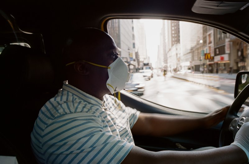 Jacob Smith, 49, has been a taxi driver for almost two years in New York City.  It's dangerous,  he says.  My brother is upset that I even go out and try to work. But I'm going, and this is one of the things that's difficult. You have to make ends meet.