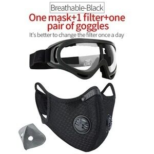 Face Mask with N95 Anti-Pollution Filter & Goggles