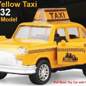 Collectable Classic Yellow Taxi Model and Pull Back Toy Car w/ Music & Lights