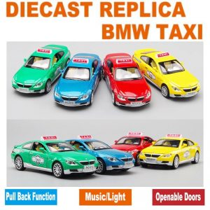 Collectable Replica BMW Taxi Model and Pull Back Toy Car w/ Music & Lights